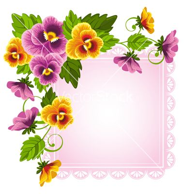 Background With Pansy Vector Image On Vectorstock Pansies Beautiful Flower Drawings Floral Background