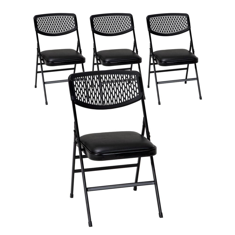 Cosco Black Metal Padded Folding Chair Set Of 4 60861blk4e