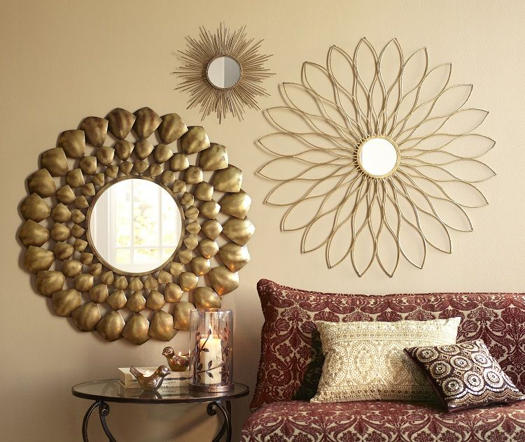 Pier 1 Radiant Mirror, Petite Gold Burst Wall Décor and Golden ...