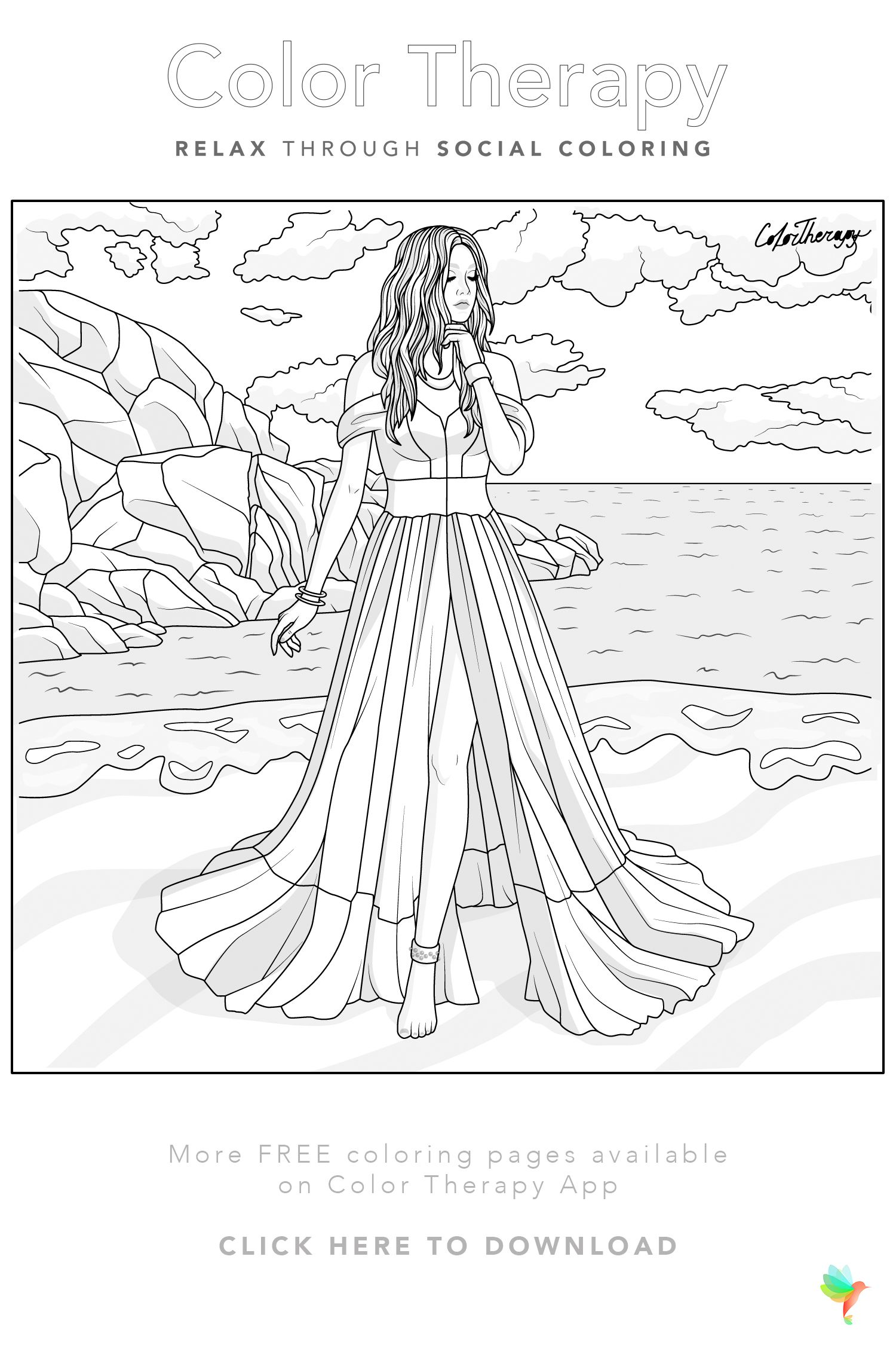 Color Therapy Gift Of The Day Free Coloring Template Detailed Coloring Pages Horse Coloring Pages Fashion Coloring Book