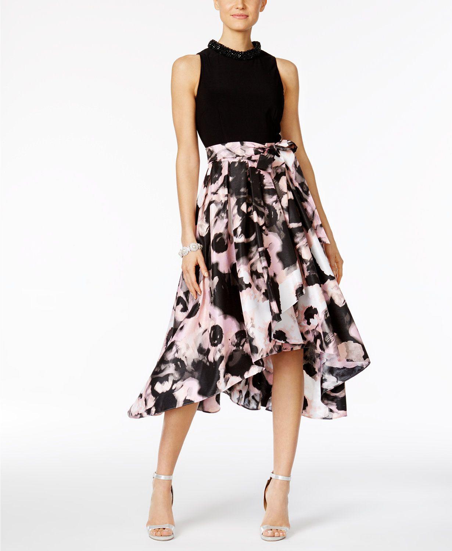 942f1f0e78 SL Fashions Floral-Print High-Low Dress