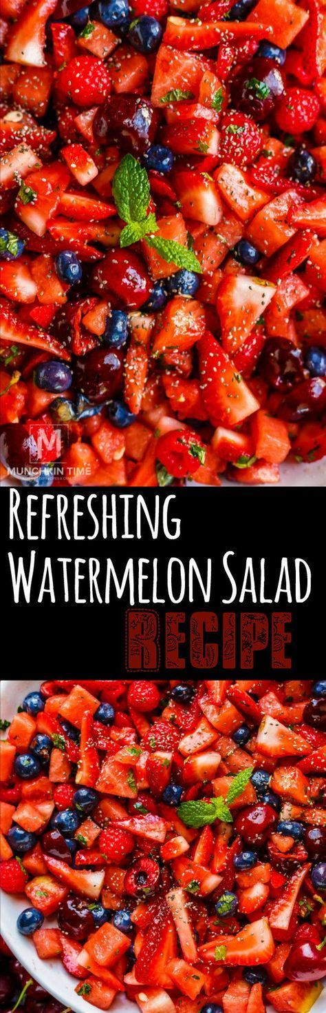 Super refreshing watermelon salad recipe to enjoy on a hot summer day with a delicious 3-ingredient fruit salad dressing! #fruitsalad #watermelon #summersalad #4thofjulyrecipe    If you love animal food but are also on a diet, you can use your preference on the grill. Grill is a very healthy cooking method for diabetics and diabetics. Of course, the choice of food you will cook is also important!     You should use the meat preferenc... #Munchkin #Recipe #refreshing #Salad #time #Watermelon