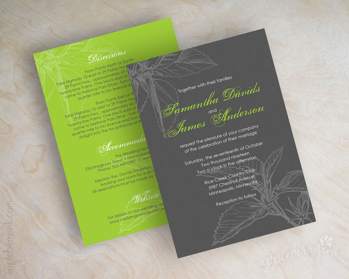 Wedding invitations, floral leaves in charcoal gray an lime green ...