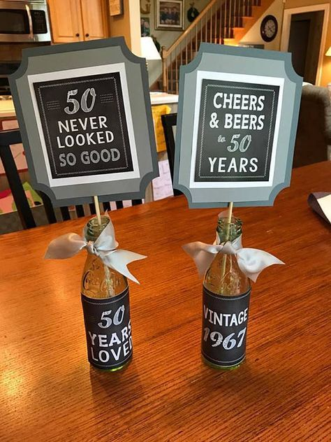 50TH BIRTHDAY CENTERPIECE, 50th party decor, 50th decorations, Masculine birthday, Vintage Birthday, Cheers and Beers, Black and Gray #50thbirthdaypartydecorations