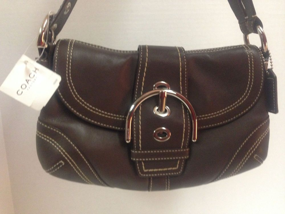 Coach Brown Leather Soho Hampton Buckle Flap Shoulder Hobo Bag ...