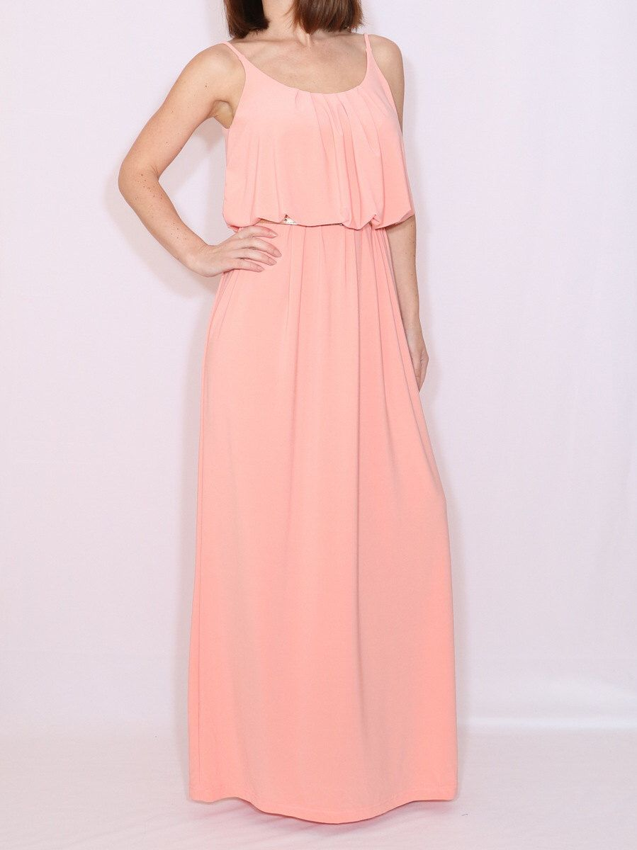 Peach bridesmaid dress Long grecian goddess dress Maxi dress by ...