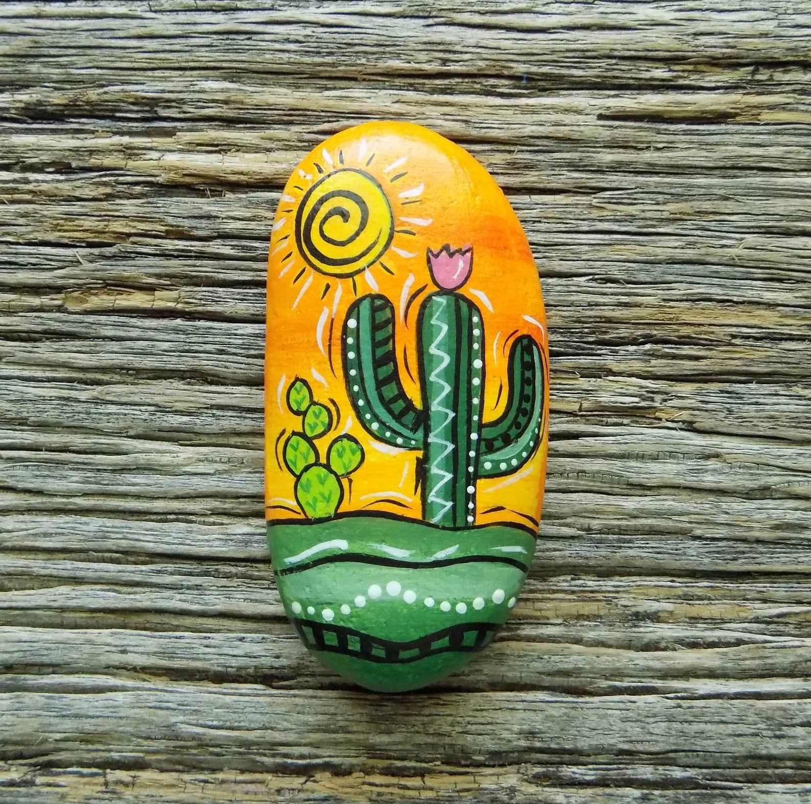 Desert Scene Abstract Cactus Painted RockDecorative Accent Stone Paperweight