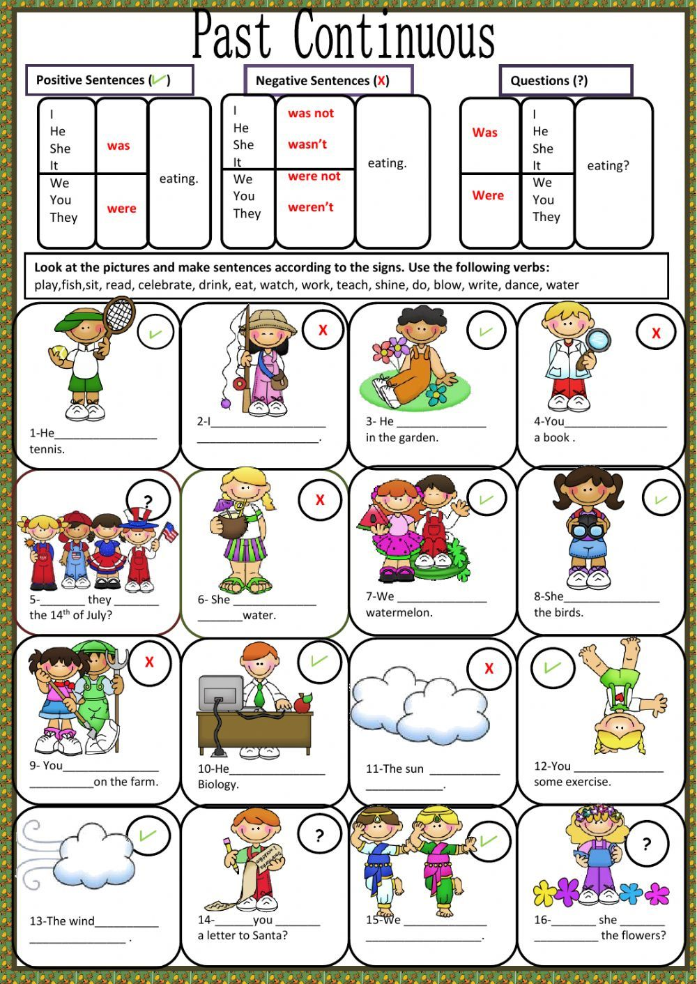 Past Continuous Interactive And Downloadable Worksheet You Can Do The Exercises Online Or Download The W English Grammar Quiz English Grammar Teaching English [ 1411 x 1000 Pixel ]