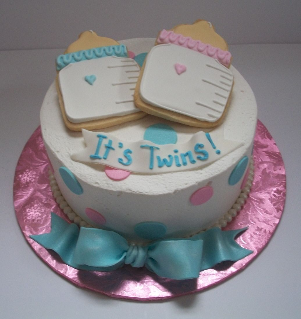 Twin shower cake ideas brenda 39 s baby shower cakes for Baby shower decoration ideas for twin girls