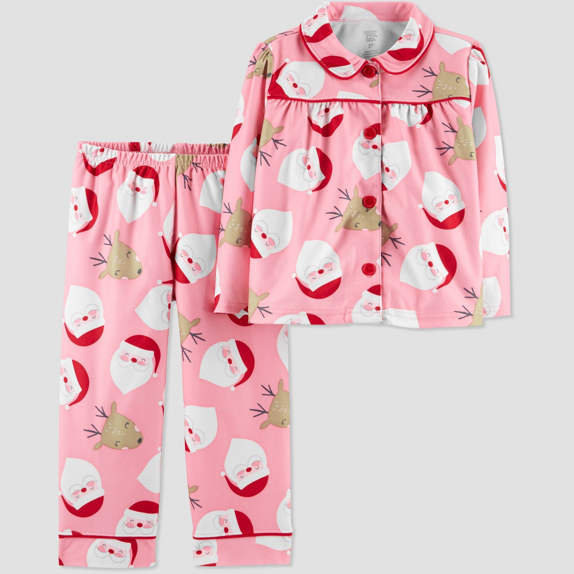 Toddler Girls  Santa Coat Pajama Set - Just One You made by carter s Pink 3T 6e18ab8b6