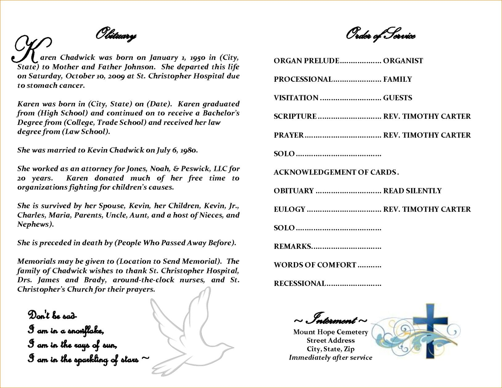 Free Obituary Template Download Luxury How To Write An In Fill In The Blank Obituary Template Obituaries Template Funeral Program Template Newspaper Template