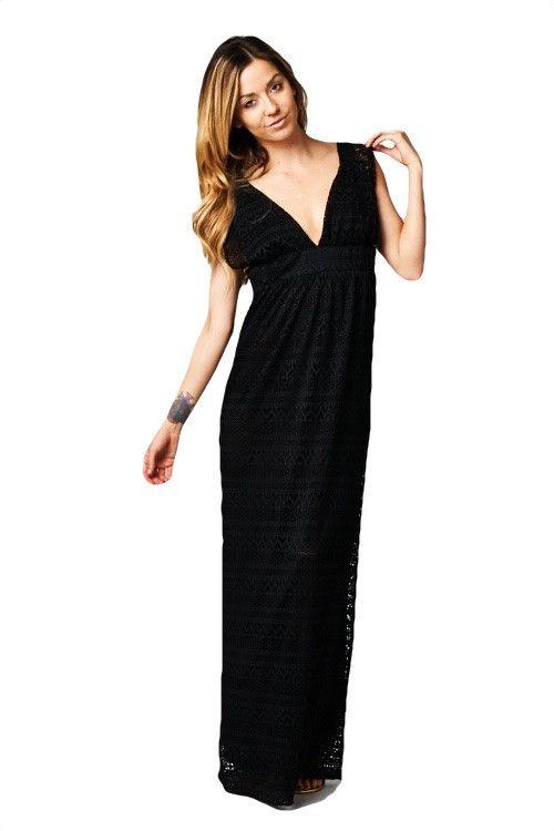 Sun Spirit Crochet Lace Plunge Neck Maxi Dress - Black