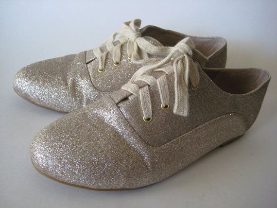 Vintage Exquisite Gold Glitter Flats / Tennis shoe by InsteadofZzs, $32.00