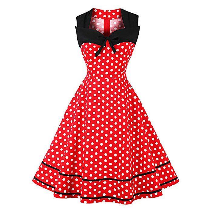 Damen 50er Vintage Retro Rockabilly Kleid Hepburn Stil Polka Dots ...