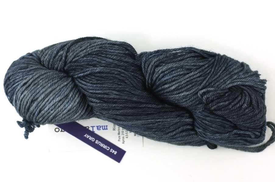 Malabrigo Rios yarn, color Cirrus Gray, inky blue-gray, #845