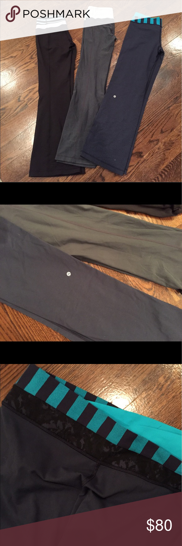 LULULEMON Lot! Groove pants reversible LULULEMON Lot! Groove pants reversible. 2 pairs reversible (size 8) pair size 10. Gray has slight piling, others are like new! lululemon athletica Other