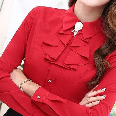 Women Ruffled Casual Blouse Female Long Sleeve Elegant Red Slim Fit Shirt Ladies Tops Office Lady OL New Style Fashion