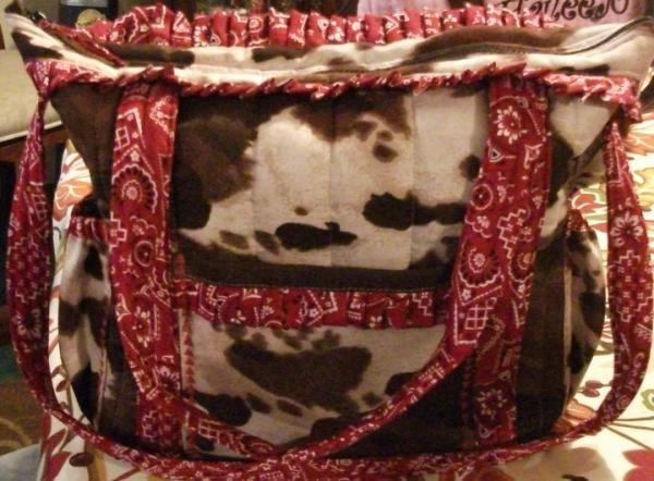 Brown Cow Print Diaper Bag with Red Bandana Trim   Printed ...