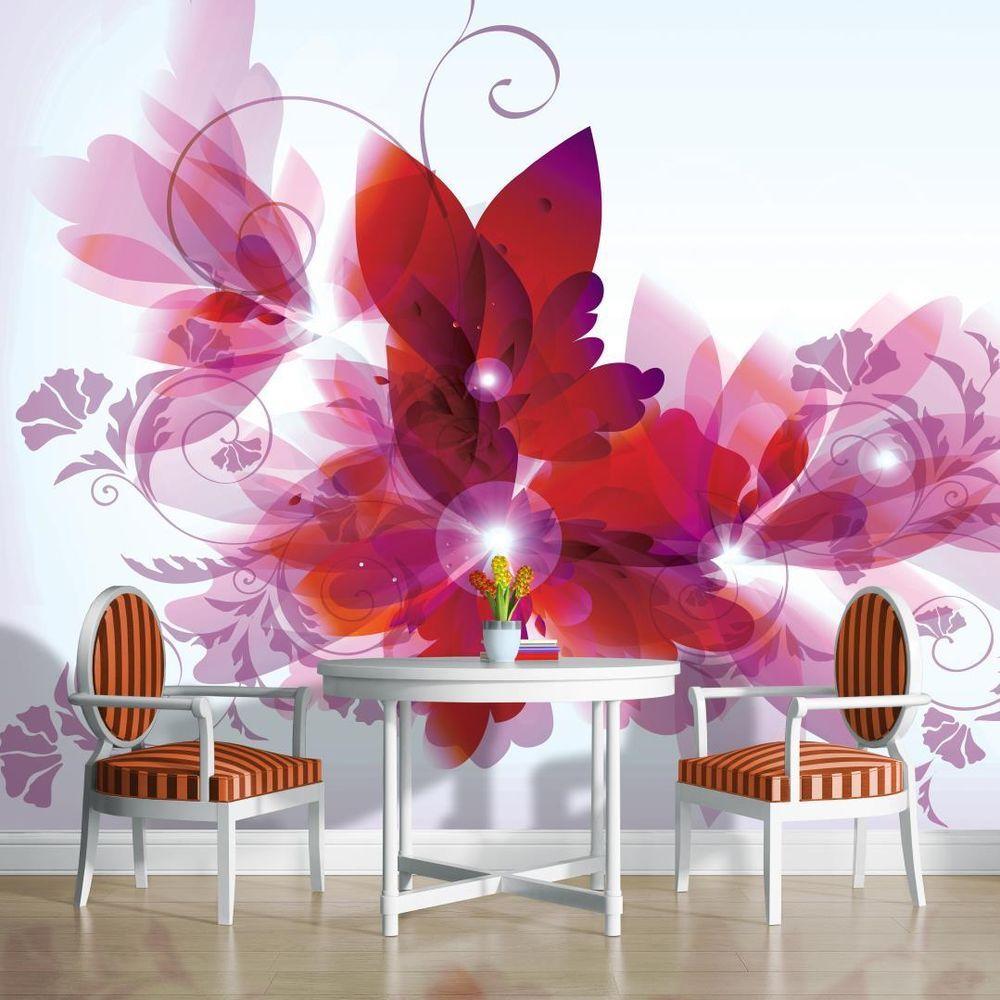 Burgundy flowers photo wallpaper wall mural room decor