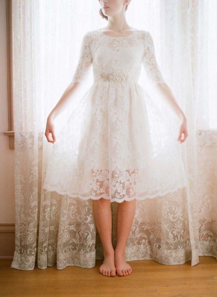 UK 50s 60s vintage lace short wedding dress knee tea length 228 long ...