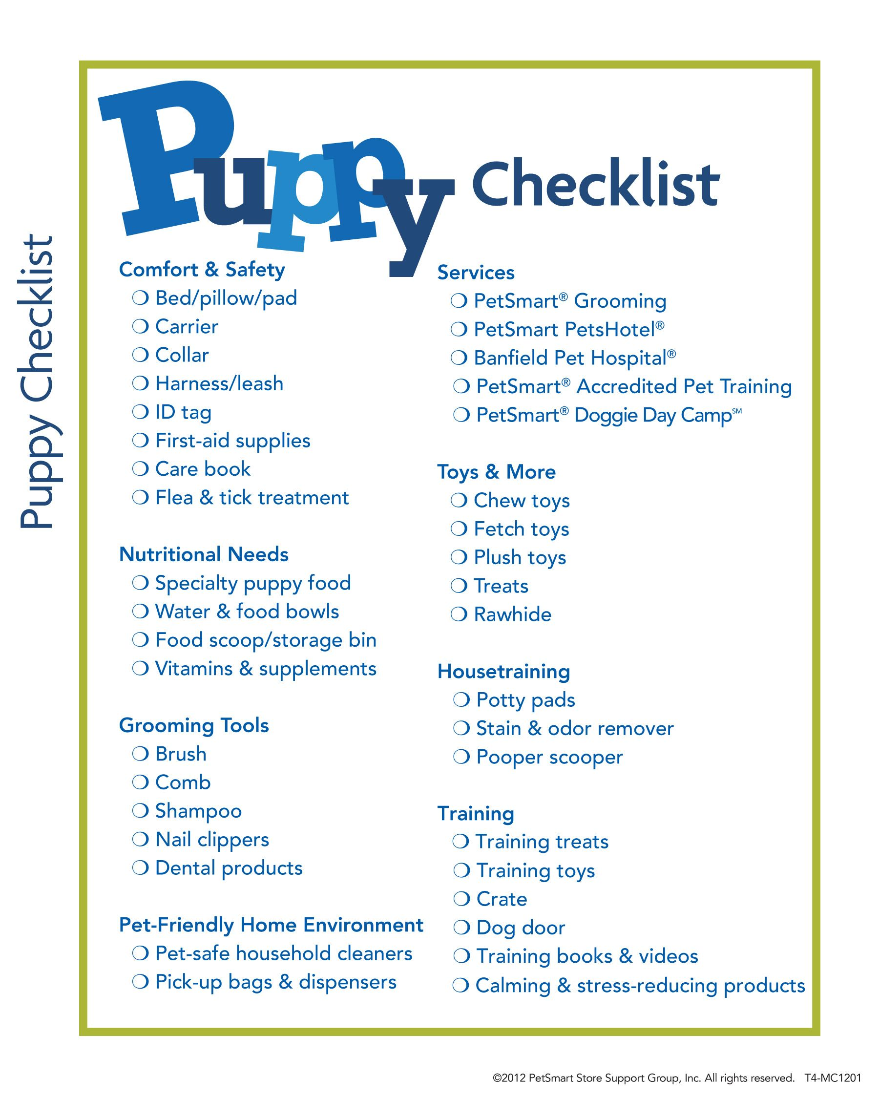 Caninestylesnyc New Puppy Checklist Puppy Checklist New Puppy