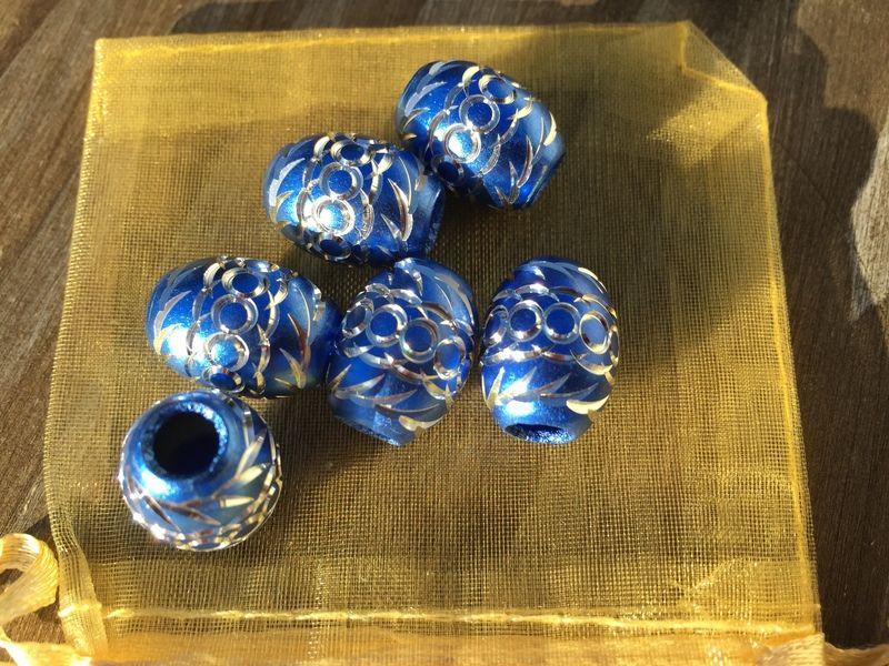 6 blue aluminum big hole spacer beads 13X15mm   from beadzandbuttons & co by DaWanda.com