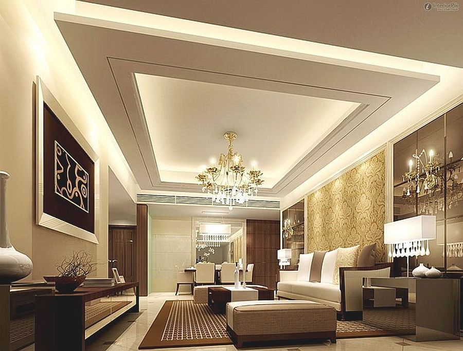 Living Room Gypsum Board False Ceiling Design For Living Room