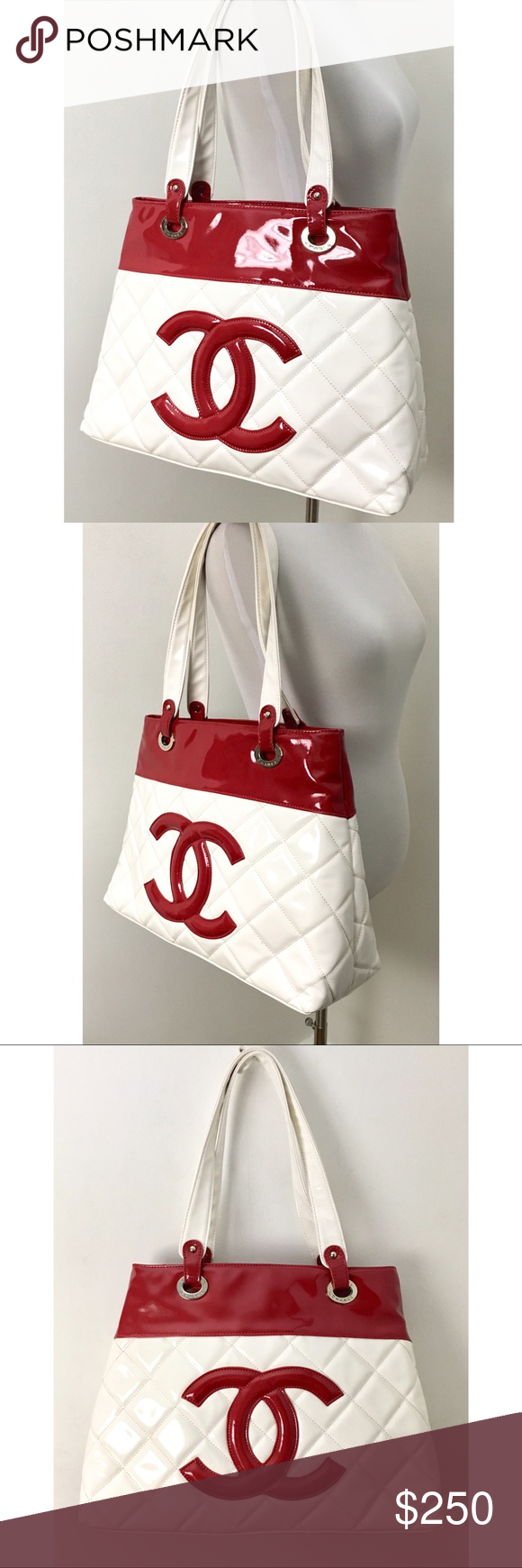 Chanel Vip Large Patent Logo Tote Xl Red White Patent Leather Chanel
