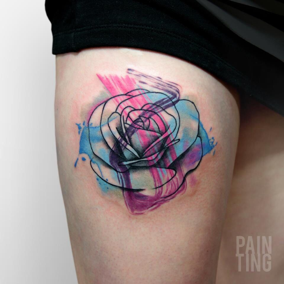 Abstract watercolor rose tattoo pain ting tattoo for Abstract rose tattoo