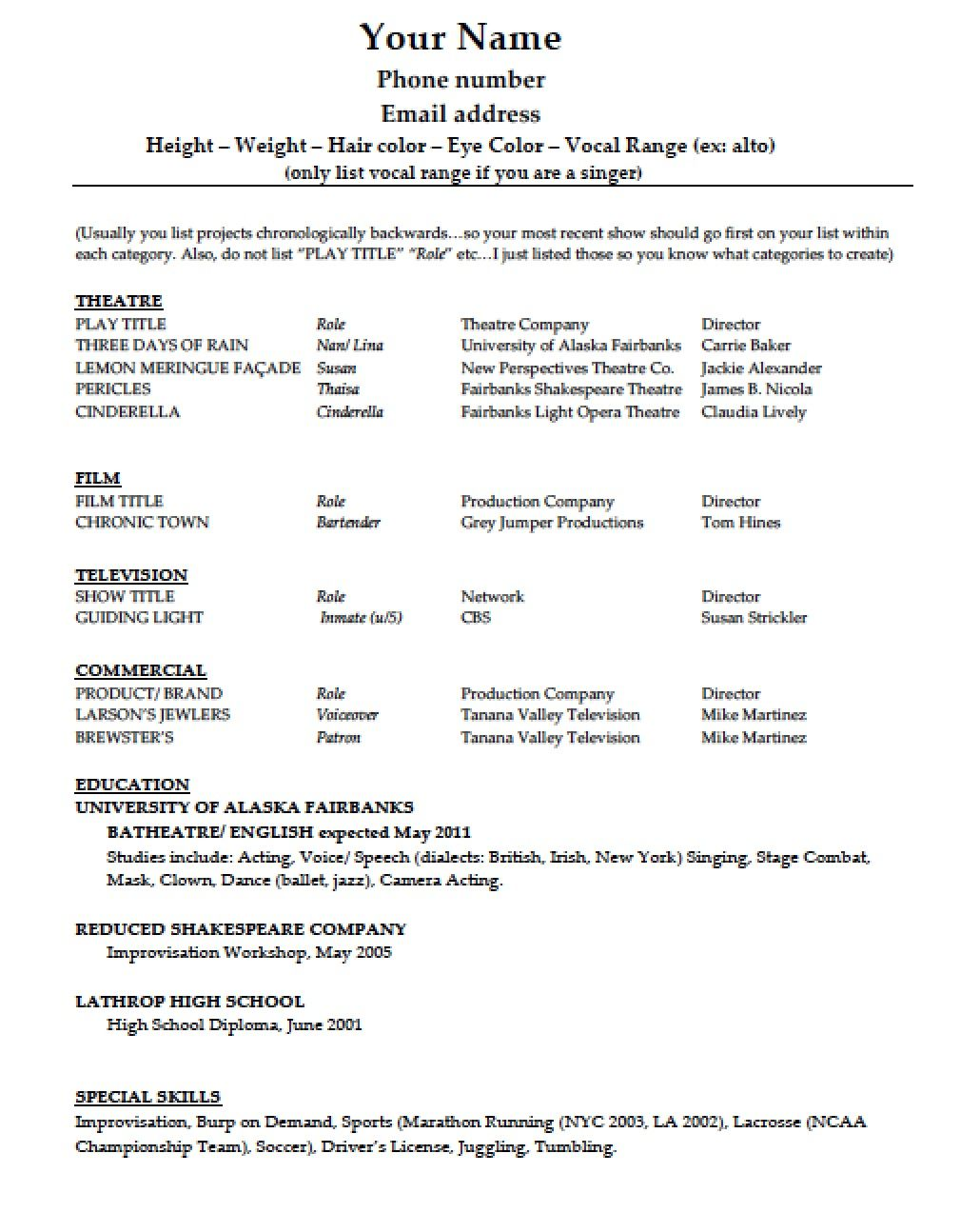 Acting with images acting resume template acting