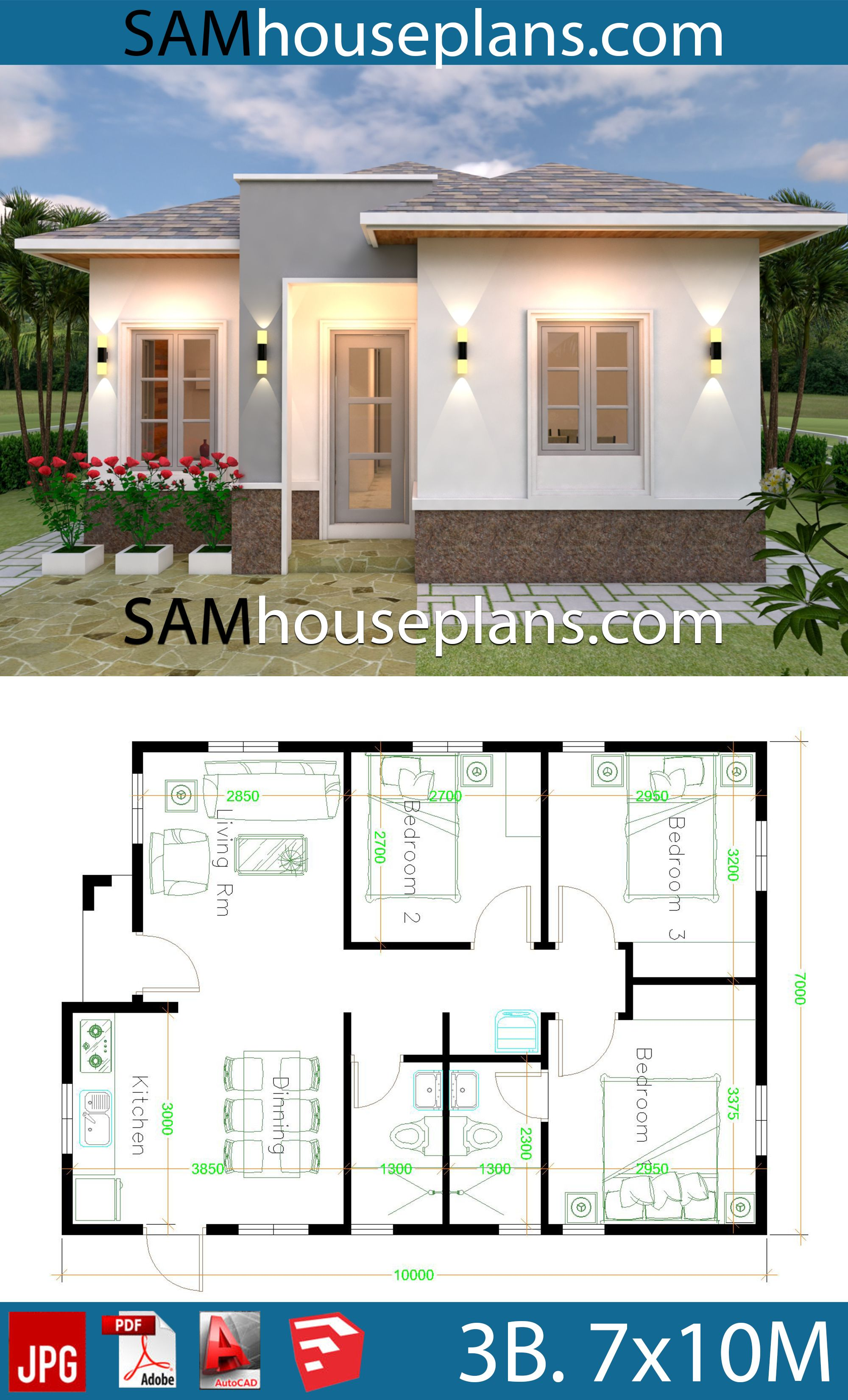 House Plans 7x10 With 3 Bedrooms Sam House Plans House Plan Gallery My House Plans House Construction Plan
