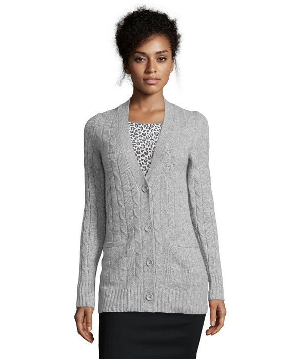 Hayden : light heather grey cable knit cashmere boyfriend cardigan ...