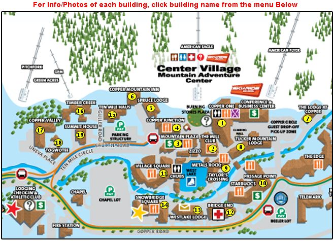 Copper Mountain Lodging Map on