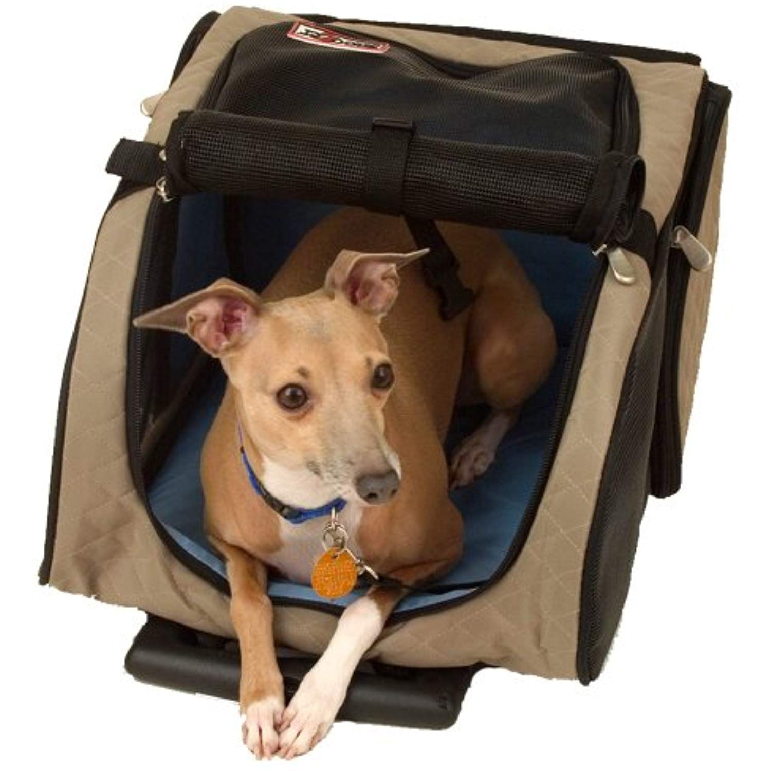Snoozer Roll Around 4in1 Pet Carrier, Khaki, Black cats