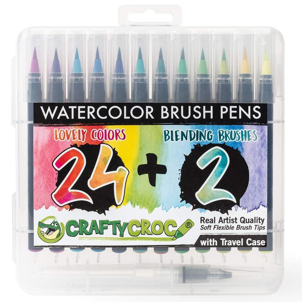 Watercolor Brush Pens 24 Colors Plus 2 Blending Brushes