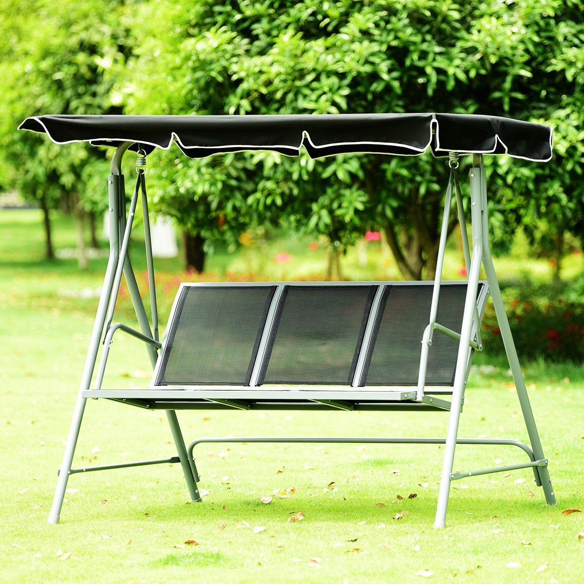 3 Persons Patio Powder Finish Canopy Deck Swing Bench Outdoor Sling Chair Swinging Chair Patio Hammock
