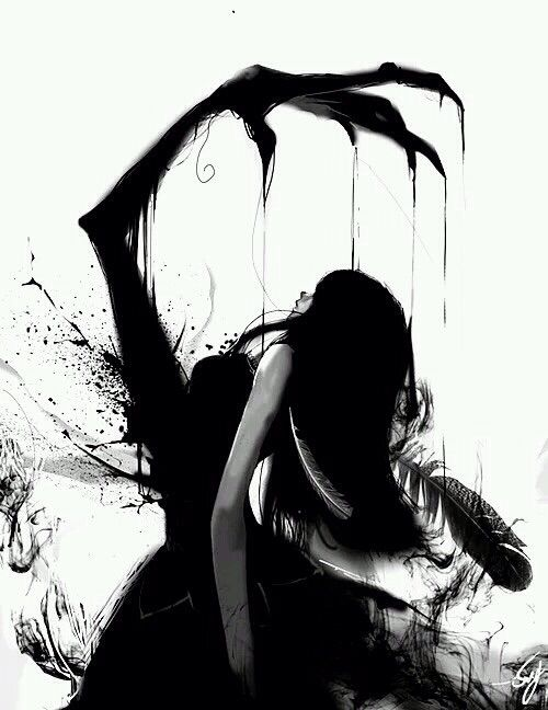 Dreary Black Monster Like Thing Within A Girl Her Demon I Think Lovely Monochrome Black And White Manga
