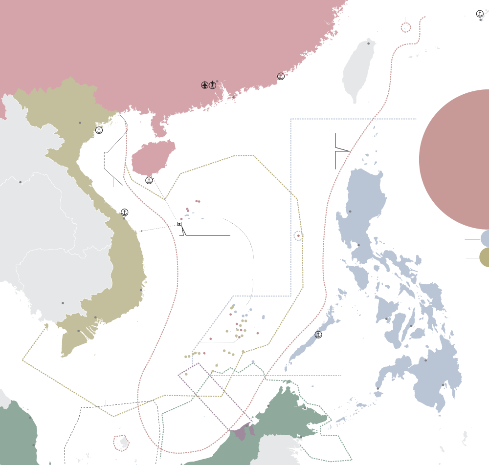 Territorial disputes in the South China Sea  Several countries compete for territory in the South China Sea: China, Vietnam, the Philippines Malaysia and Brunei. Infographic.