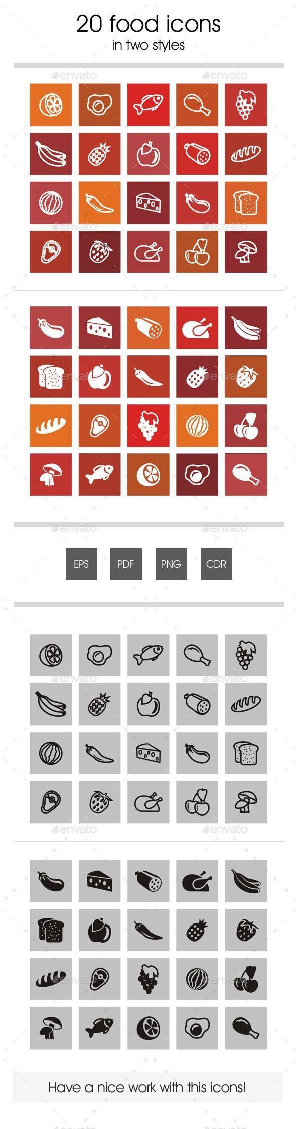 20 Food Icons Food icons, Icon, Restaurant icon