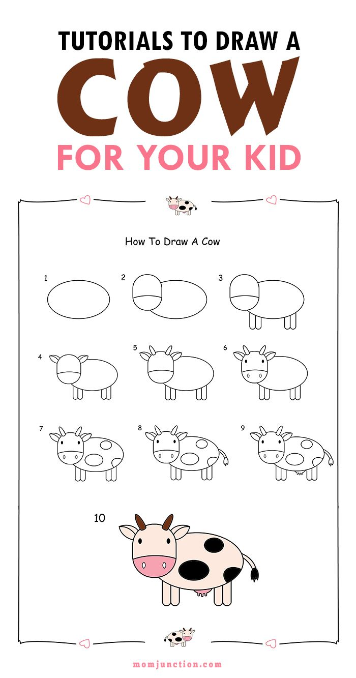 Kuh Malen Für Kinder 2 Easy Tutorials On How To Draw A Cow For Kids Drawing Pinterest