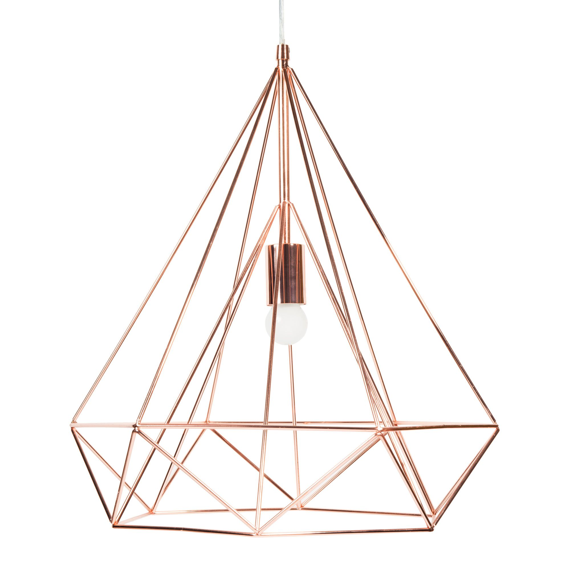 Suspension cuivre en m tal d 45 cm diamond copper - Suspension luminaire en cuivre ...