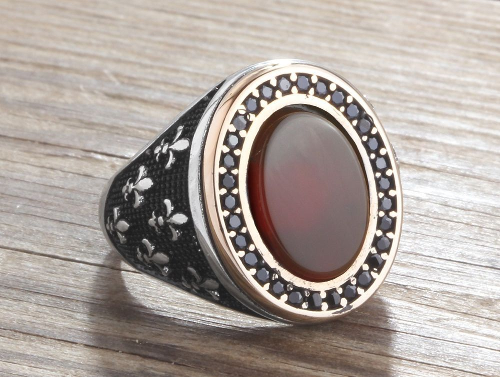 925 Silver Man Ring Agate And Onyx Size 10 11 12 Men S