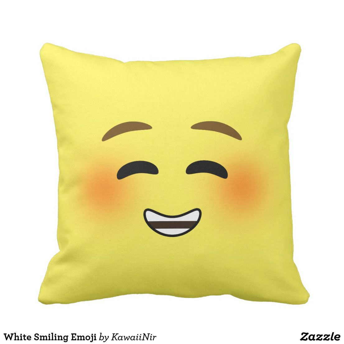 White Smiling Emoji Throw Pillow Zazzle Com Emoji Pillows Throw Pillows Pillows