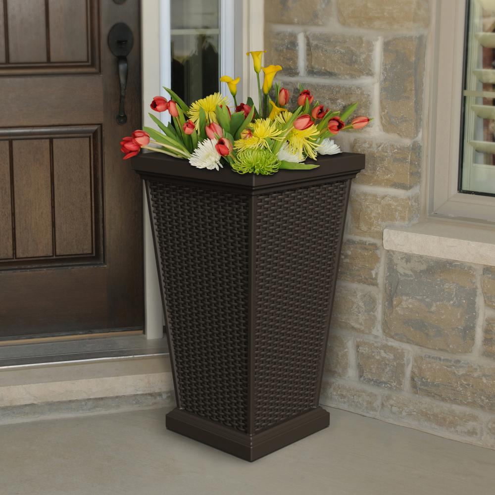 Photo of Mayne Wellington 28 in. Tall Planter-5863-B – The Home Depot