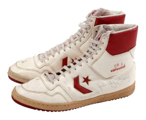 1980 83 Julius Erving Game Worn & Signed Converse