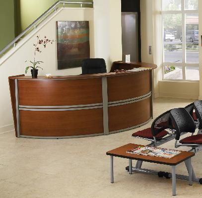 The Ofm Marque Reception Desk System Features Modern Styling