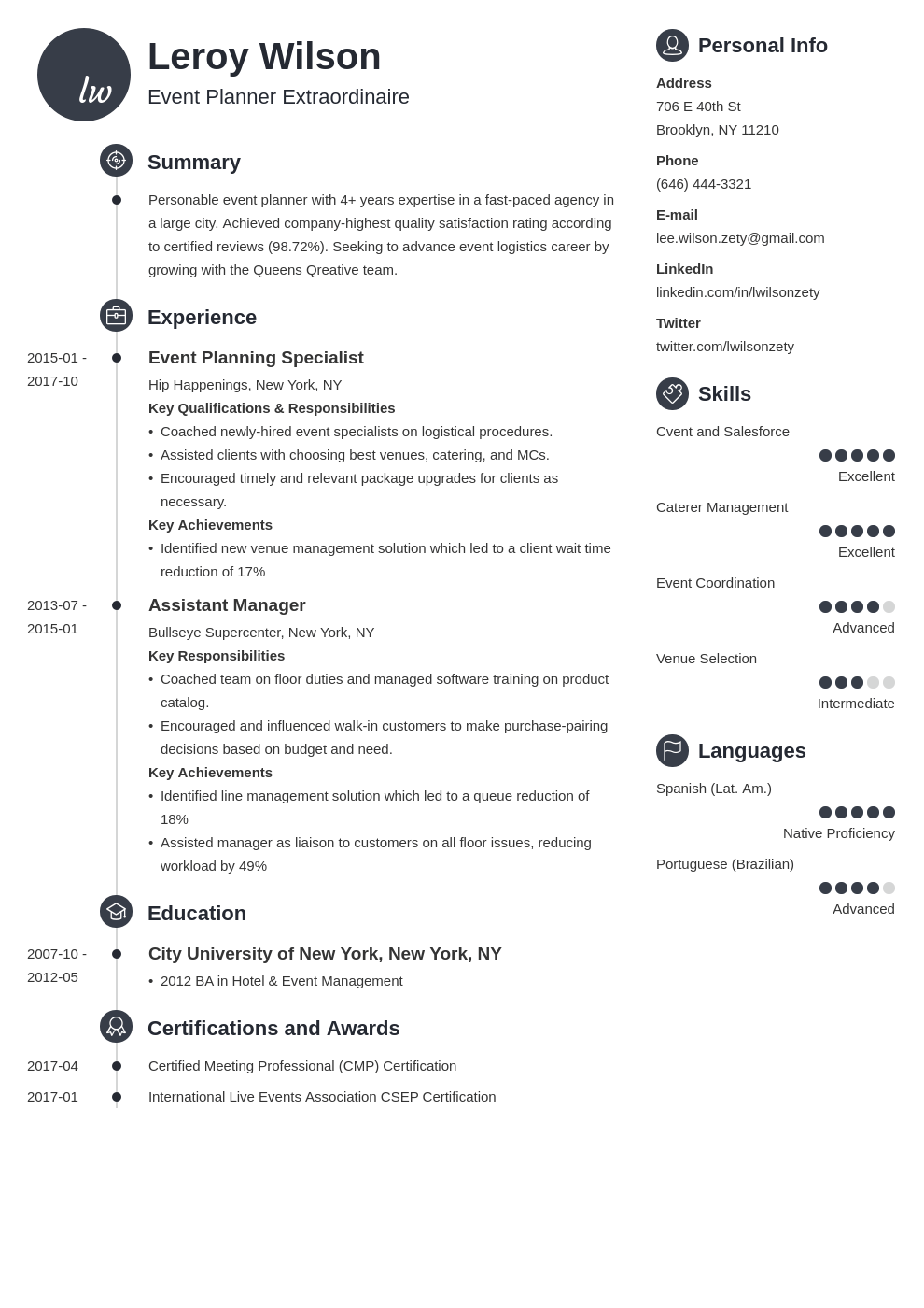 event planner resume example template primo in 2020