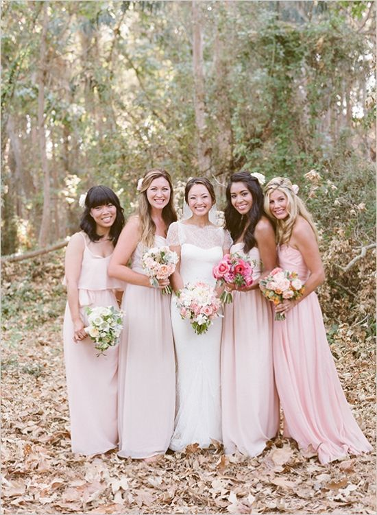 Pale Pink Bridesmaids Dresses In Diffe Style Bouquets