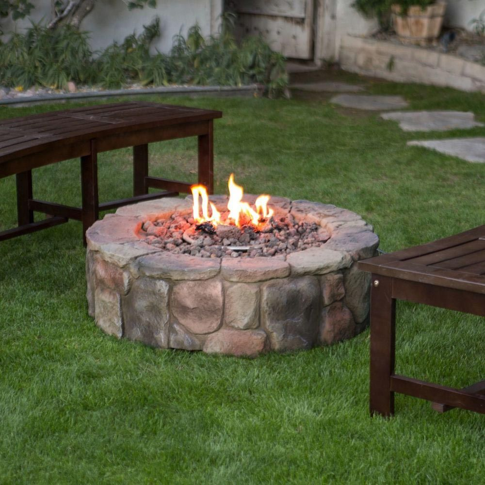Round Stone Fire Pit Outdoor propane fire pit, Propane