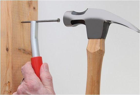 The ThumbSaver can help you position a nail into position without leaving your fingers exposed to a hammer. It features a powerful magnet to hold virtually any nail, staple, or screw,In addition, ThumbSaver allows you to reach places that would be impossible with your fingers.
